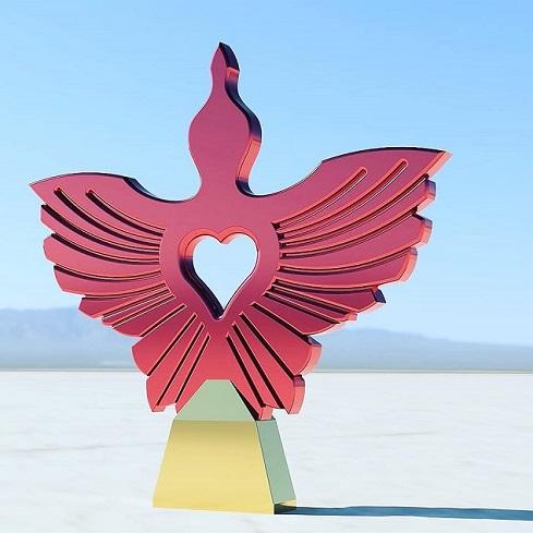 PEACE stainless steel sculpture Toomas Altnurme