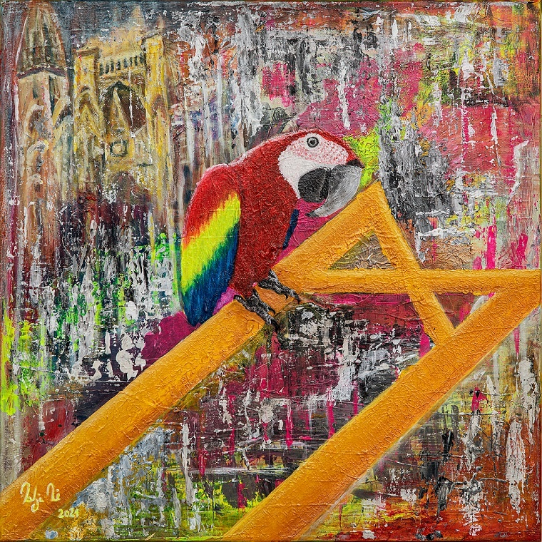 kuckuck katja kirseck gemälde kunst aus berlin ausstellung papagei ölgemälde arttrado kirseck kakikunst