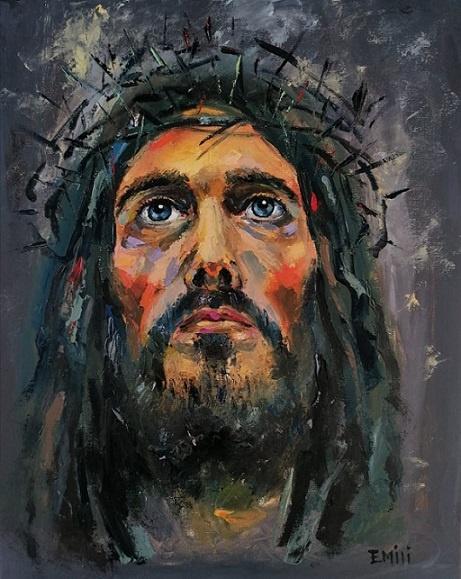 jesus gemälde kunst werk der woche jesus blaue augen kunstwerk der woche emiliya Koleva bulgarien kunst aus bulgarien gemälde öl kunst jesus