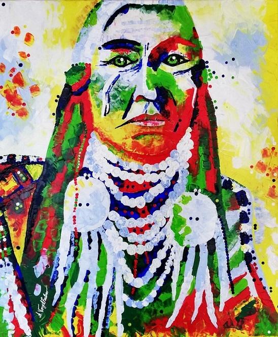 indianer portrait acryl auf leinwand häuptling gemälde junge kunst online alexandra vogelhuber kunst online arttrado indianer gemälde werk der woche vogelhuber wdw