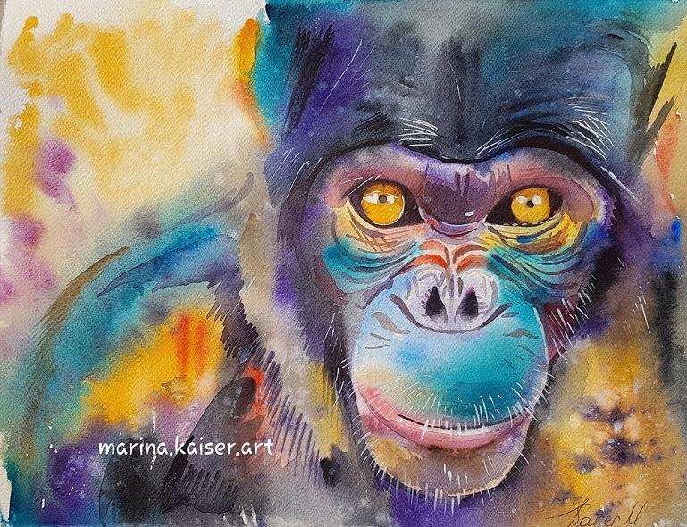 marina kaiser #petermannlebt aquarell affe petermann kunstdruck fineartprint affe kunst für den guten zweck affe herzsprung art