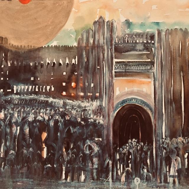Sonne über Jerusalem Kunst Julien B Ausstellung die sonne scheint für alle kunst arttrado kalligraphie