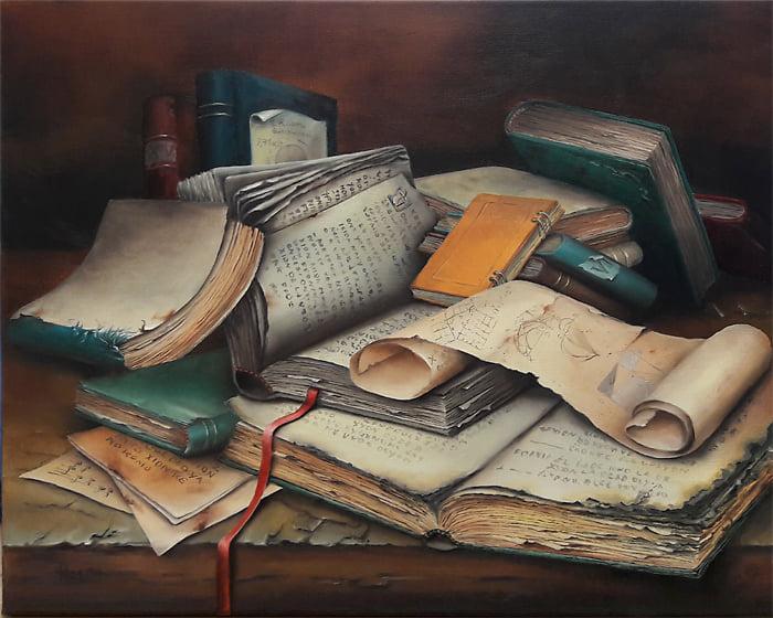 Kunst von Manfred Jöhnk Ölgemälde Kunst kaufen jöhnk bücher-stillleben kunstwerk online kaufen galerie erfahrung arttrado kunstwerke entdecken