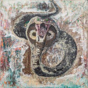 acryl schlangengemälde futhark runenkunst katja kirseck kakikunst arttrado galerie junge kunst entdecken